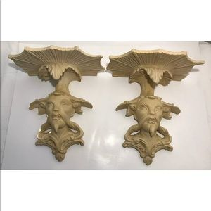 Chinoiserie Regency Carved Plaster Wall Brackets